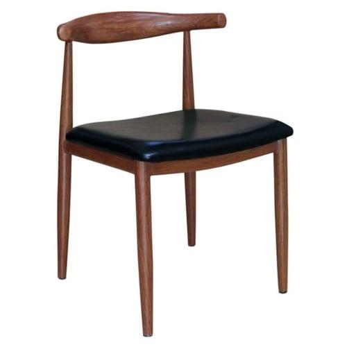 Wood Grain Metal Chair in Walnut Finish with Black Vinyl Seat