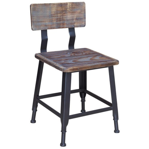 Black Industrial Style Metal Chair with Wood Back and Seat in Black Finish