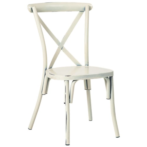 Stackable Metal X-Back Chair in White Finish
