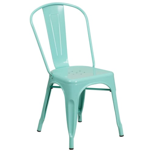 Bistro Style Metal Chair in Light Blue