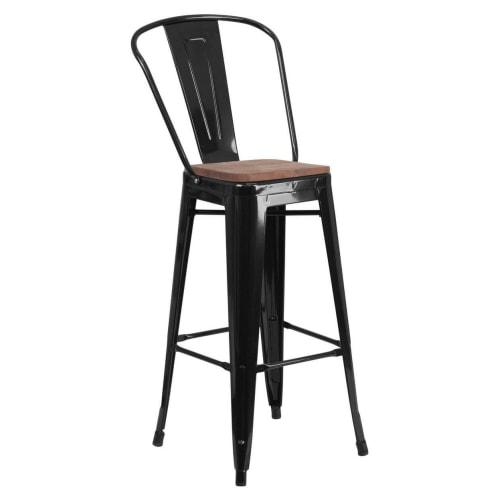 Bistro Style Black Metal Bar Stool with Walnut Wood Seat