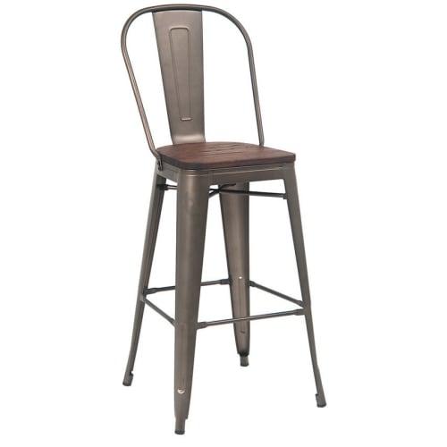 Dark Grey Bistro Style Metal Bar Stool with Wood Seat in Walnut Finish