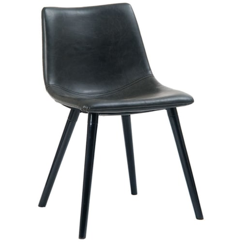 Vintage Style Metal Chair with Padded Seat and Back in Black Vinyl