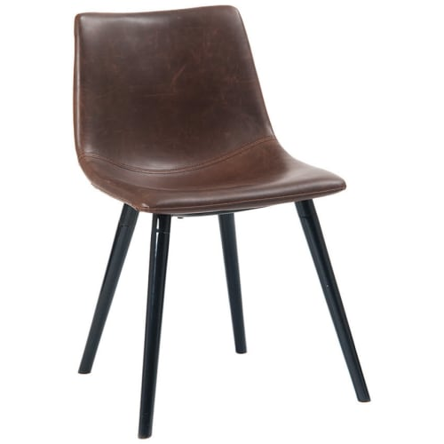 Vintage Style Metal Chair with Padded Seat and Back in Brown Vinyl