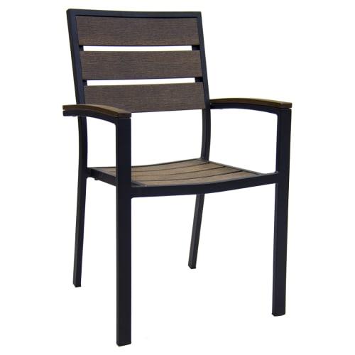 Black Aluminum Armchair with Dark Walnut Plastic Teak