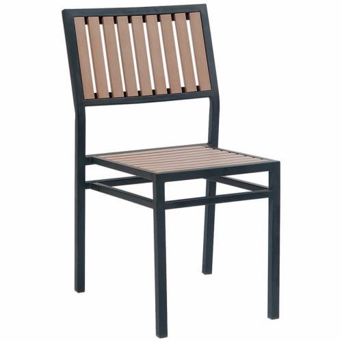 Black Metal Chair with Natural Finish Vertical Slat Plastic Teak