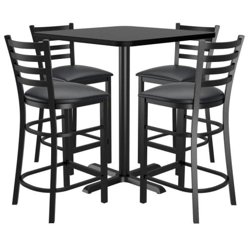 Bar Stools shown with Black Vinyl Seat. Table Top in Black / Mahogany Finish.