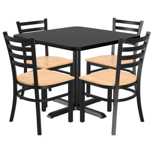 Chairs shown with Natural Wood Seat. Table Top in Black / Mahogany Finish.