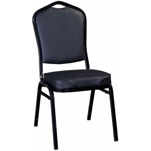 Stack Chair with Black Frame Finish and Black Vinyl