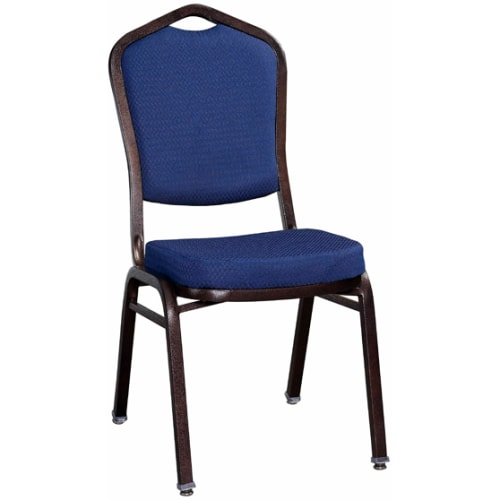 Premium Metal Stack Chair - Copper Vein Frame with Blue 2024 Fabric