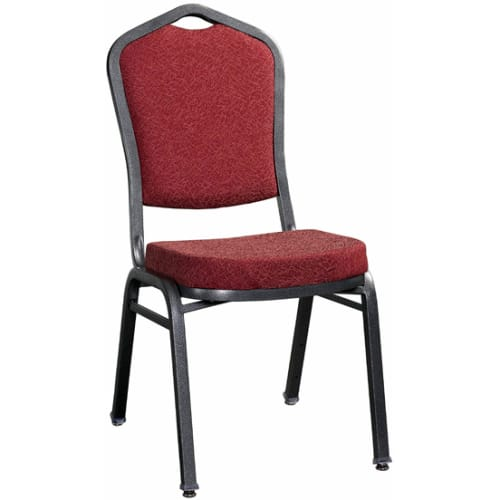 Premium Metal Stack Chair - Silver Vein Frame with Red 2438 Fabric