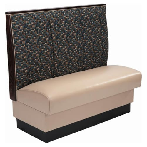 Single 3 Channel Booth with a Fabric Padded Back and Tan Vinyl Seat