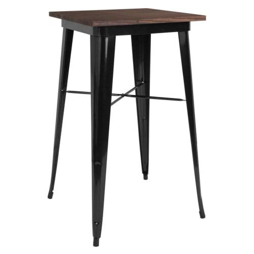 Industrial Black Bar Height Table with Dark Walnut Wood Top