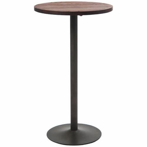 Round Industrial Series Bar Height Table with Metal Base and Wood Top