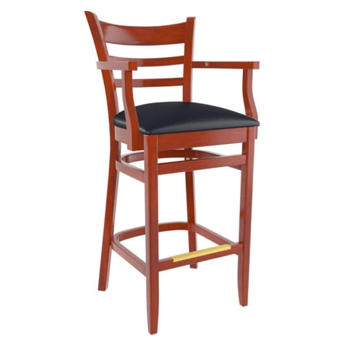 Premium US Made Ladder Back Wood Restaurant Bar Stool With Arms