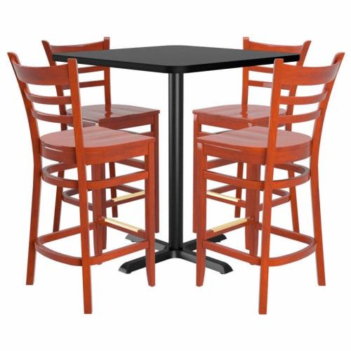 Bar Stools shown in Mahogany Finish & Mahogany Wood Seat. Table Top in Black / Mahogany Finish.