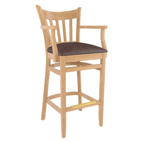 Premium US Made Vertical Slat Wood Restaurant Bar Stool With Arms