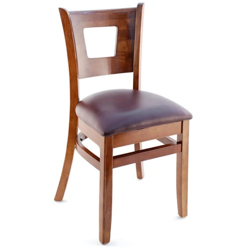 Duna Wood Restaurant Chair - Mahogany Finish with a Wine Vinyl Seat