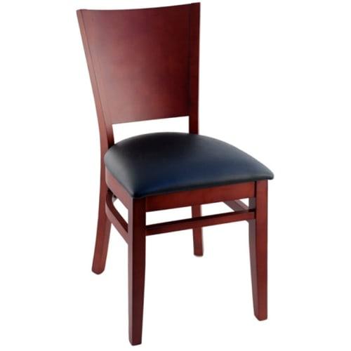 Premium US Made Tiffany Wood Chair - Mahogany Finish with a Black Vinyl Seat