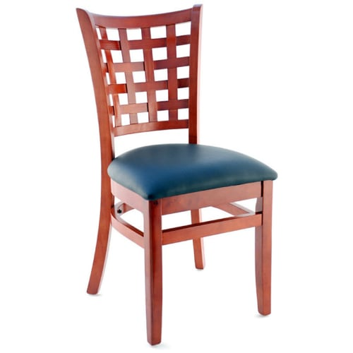 Premium US Made Lattice Back Wood Chair - Mahogany Finish with a Black Vinyl Seat