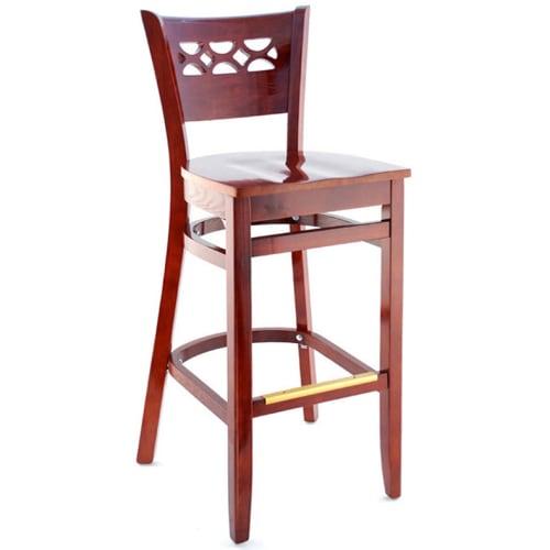 Leonardo Wood Bar Stool - Mahogany Finish with a Wood Seat