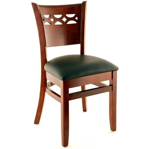 Premium US Made Leonardo Wood Chair - Dark Mahogany Finish with a Black Vinyl Seat