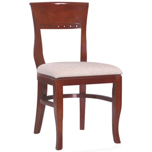 Premium US Made Beidermeir Wood Chair - Mahogany Finish with a Custom Padded Seat