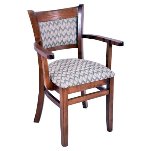 Premium Padded Back Wood Chair with Arms