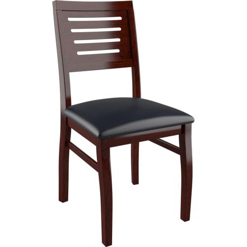 Kingston Side Chair - Dark Mahogany Finish with a Black Vinyl Seat