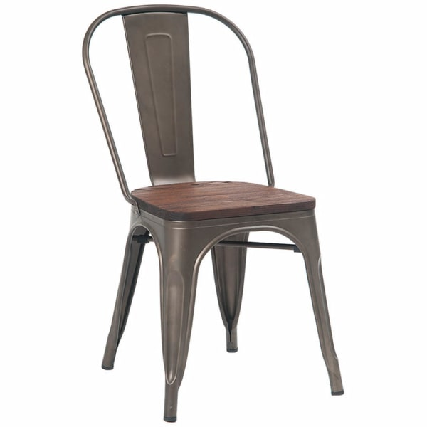 Bistro Style Grey Metal Chair