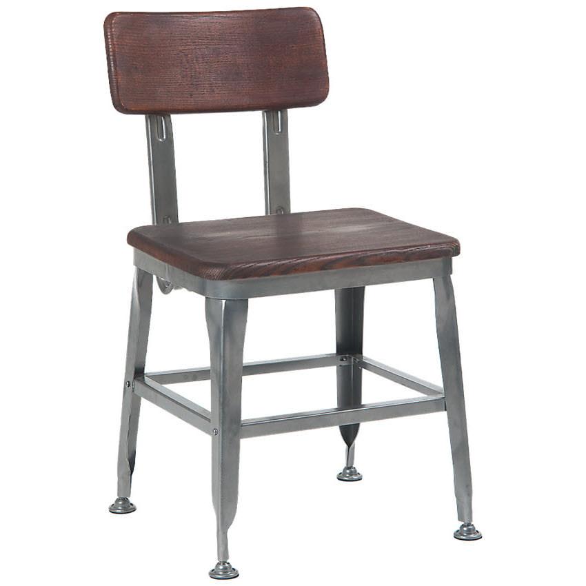 Dark Grey Metal Chair with Dark Walnut Finish Wood Back & Seat