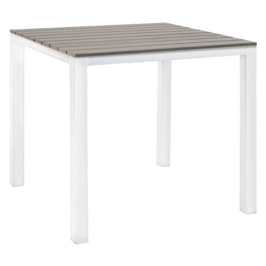 Fabulous Table With White Metal Frame And Grey Finish Plastic Teak Top Dailytribune Chair Design For Home Dailytribuneorg