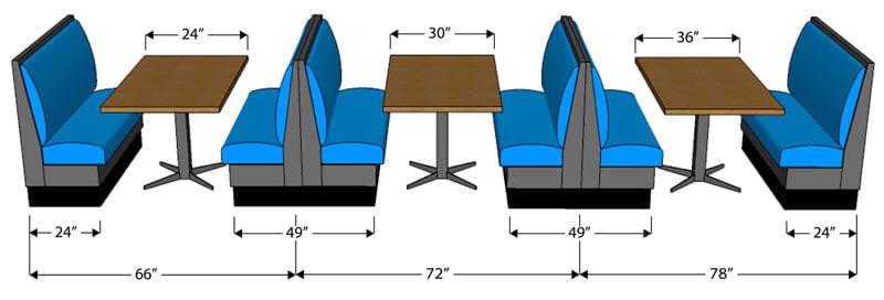 Restaurant booths spacing diagram