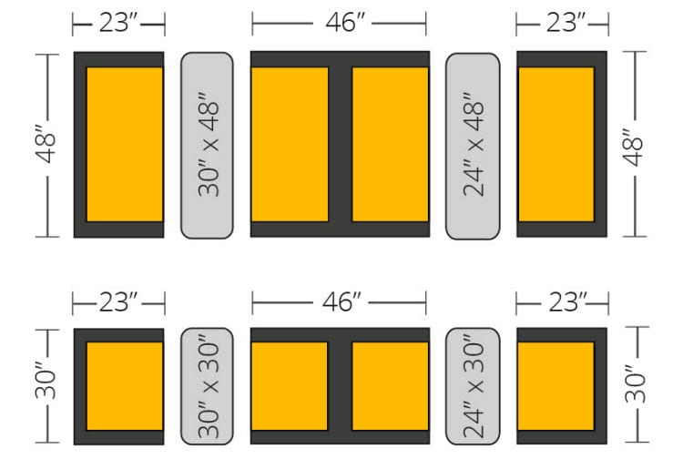 booth tables sizes