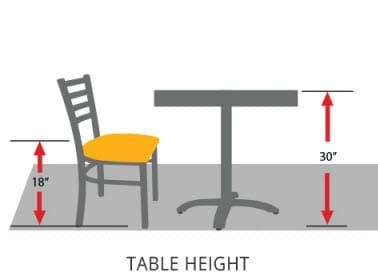 restaurant table height