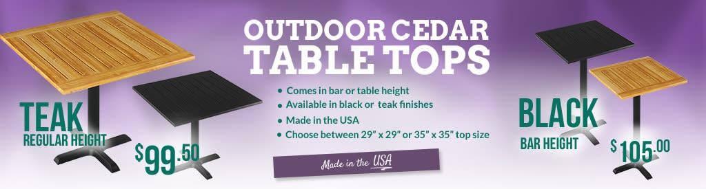 Cedar Patio Table Tops