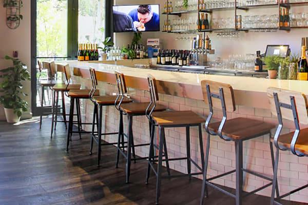 industrial restaurant bar stools on location