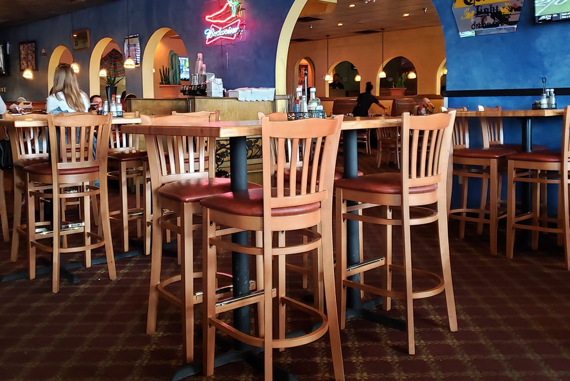 Restaurant booths and wood furniture