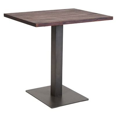 Restaurant Table with Metal Base and Wood Top