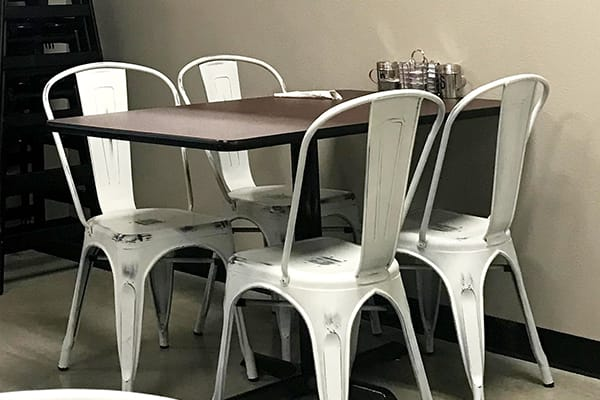 white distressed bistro chairs
