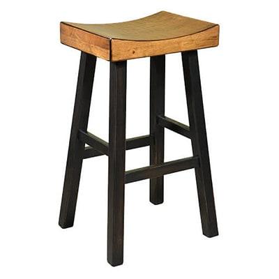 Backless Wood Saddle Seat Bar Stool