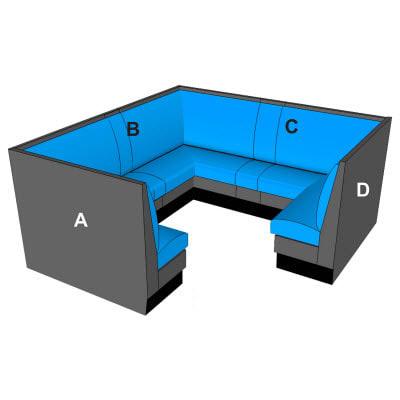 three quarter circle booths