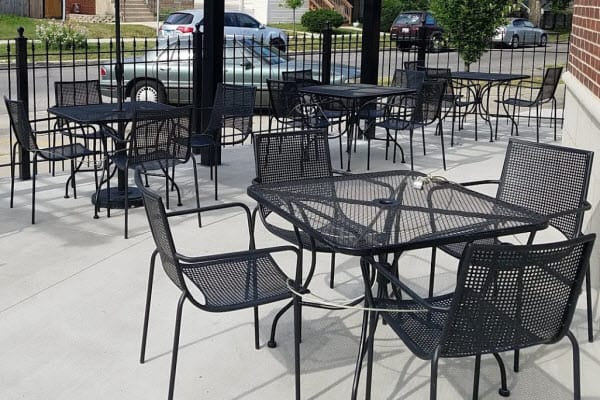 restaurant patio furniture on location