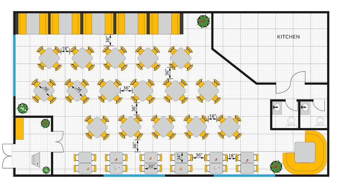 standard restaurant floor plan